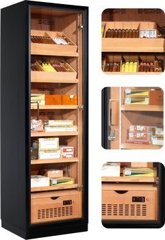 Ravenna 175 Deluxe Humidor Cabinet Musta