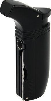 Tryskový zapalovač s dvojitým plamenem značky Adorini model Puroso černý s břitvou Solingen