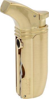 Tryskový zapalovač s dvojitým plamenem značky Adorini model Puroso pozlaceným ryzím zlatem s břitvou Solingen