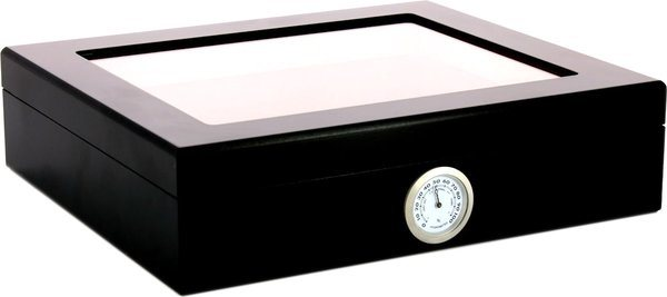 Glass top humidor black