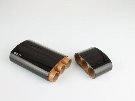 Drvena futrola od ebanovine Siglo Corona za 3 cigare