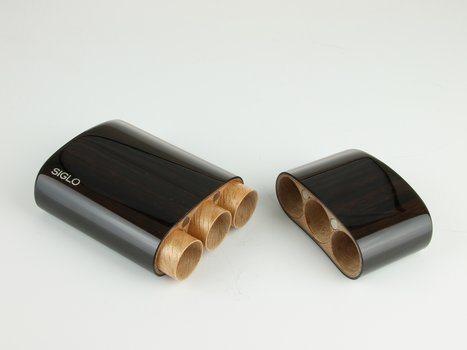 Drvena futrola od ebanovine Makassar Siglo Robusto za 3 cigare