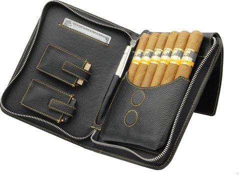 adorini cigartaske ægte læder gul topsyning