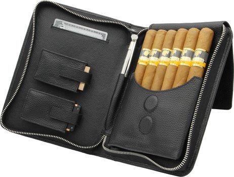 adorini cigartaske ægte læder sort syning