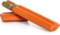 Reinhold Kühn Double Cigar Case Quilted Top Orange