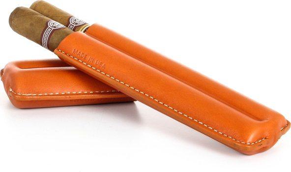 Dvojité pouzdro na doutníky značky Reinhold Kühn s prošívaným oranžovým svrškem