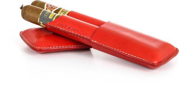 Dvojité pouzdro na doutníky značky Reinhold Kühn s hladkým červeným svrškem