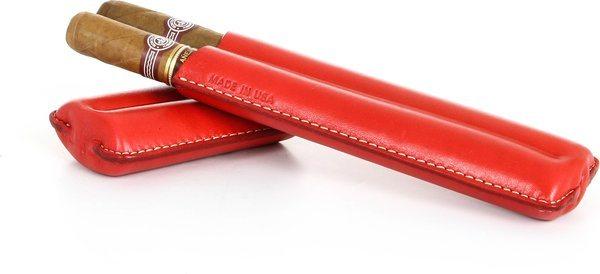 Dvojité pouzdro na doutníky značky Reinhold Kühn s prošívaným červeným svrškem