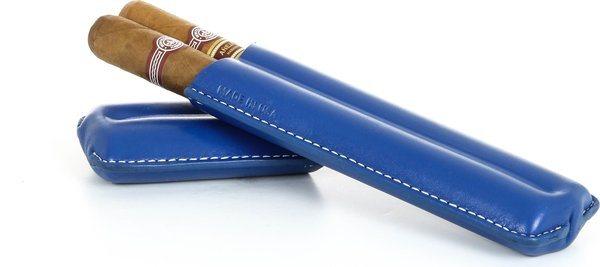 Estojo duplo para charuto Reinhold Kühn Quilted Top - Azul