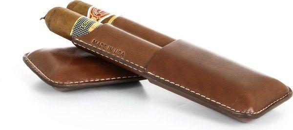 Reinhold Kühn Double Cigar Case Smooth Top Cognac