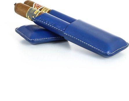 Plava dvostruka futrola za cigare Reinhold Kühn s glatkim vrhom