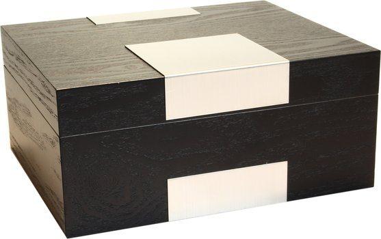 Umidor de autêntica madeira laminada preta com efeito fosco
