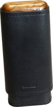 Černé pouzdro z pravé kůže Adorini na 2-3 doutníků s dřevěnou horní a dolní částí