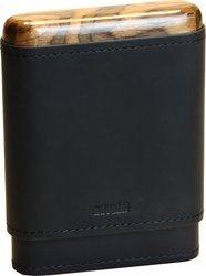 حقيبة أدوريني للسيجار 3/5 جلد أسود من الخارج ولون الخشب من الداخل
