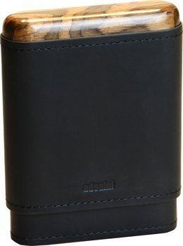 Crna futrola za cigare adorini od prave kože, 3 - 5 cigara, drveni vrh i dno