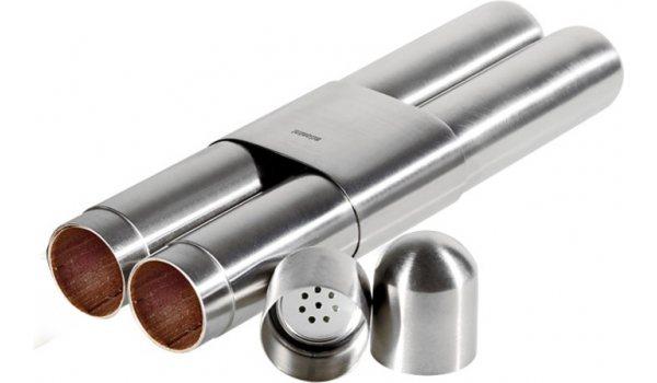 Pouzdro na dva doutníky Adorini ušlechtilá ocel se saténovou povrchovou úpravou/cedr