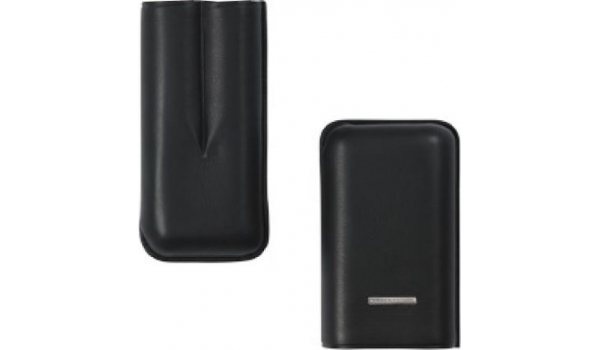 Lecerf Cigar Case Leather black Double-Robusto