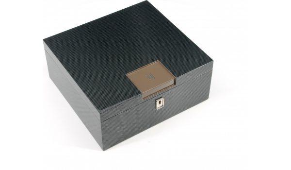 Chytrý stolní humidor HF Barcelona B hnědý karbonový