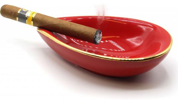 adorini Ceramic Cigar Ashtray Leaf Red