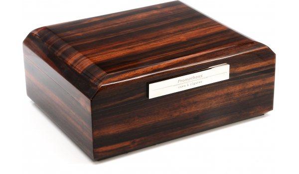 Humidor Prometheus z makasarového dřeva na 50 doutníků, osmiúhelník