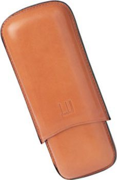 Dunhill Læder Cigar Etui for To Coronas Terracotta
