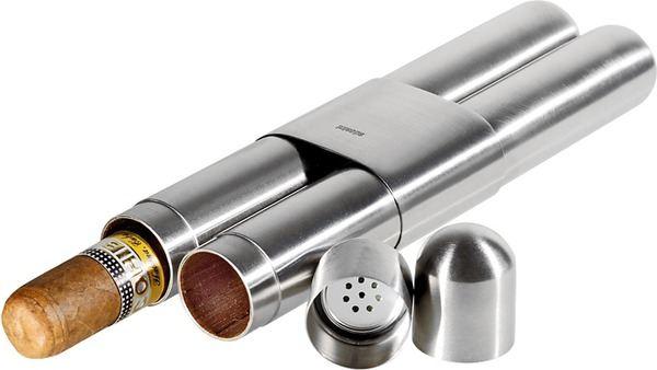 adorini Double Cigar Case High-Grade Steel Satin Finish/Cedar