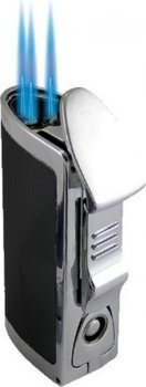 BOM Triple Jet Lighter Silver/Black