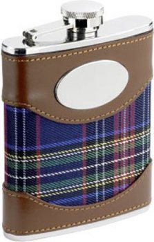 Flask with Leather/Plaid Cover with Engravable Badge