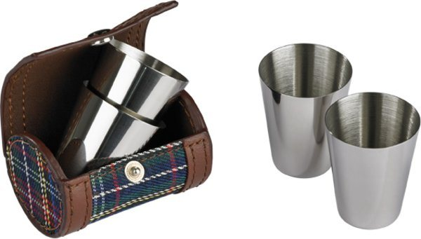 Shot Glass Set in Leather/Plaid Case